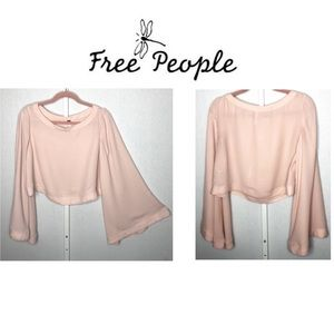 FREE PEOPLE Blush Colored Bell Sleeve Crop SP